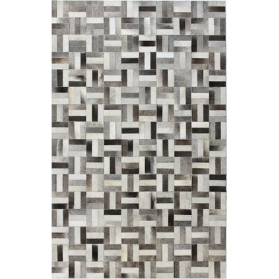 Tuscon Leather Geometric Grey Area Rug Rug Size: 9 x 12