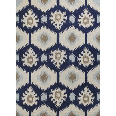 Rajapur Ivory & Navy Area Rug Rug Size: Rectangle 5 x 76