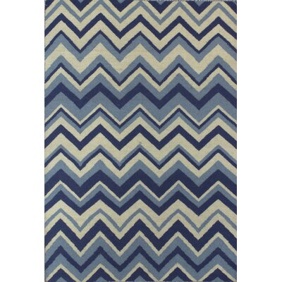 Rockport Ivory/Blue Area Rug Rug Size: Runner 26 x 8