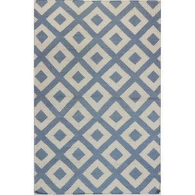 Rockport Hand Woven Wool Ivory/Blue Area Rug Rug Size: Runner 26 x 8