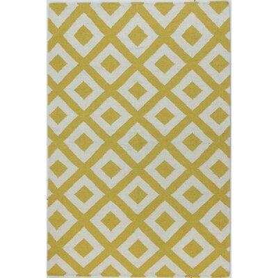 Rockport Ivory & Gold Area Rug Rug Size: 86 x 116