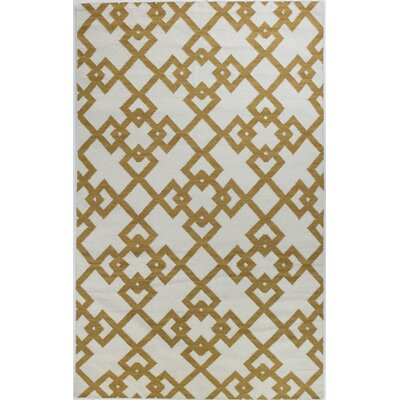 Rockport Ivory/Gold Area Rug Rug Size: Rectangle 36 x 56