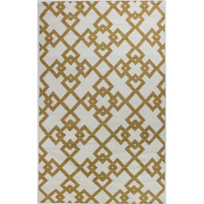 Rockport Ivory/Gold Area Rug Rug Size: 36 x 56