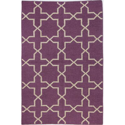 Rockport Hand-Woven Wool Lilac Area Rug Rug Size: Rectangle 76 x 96