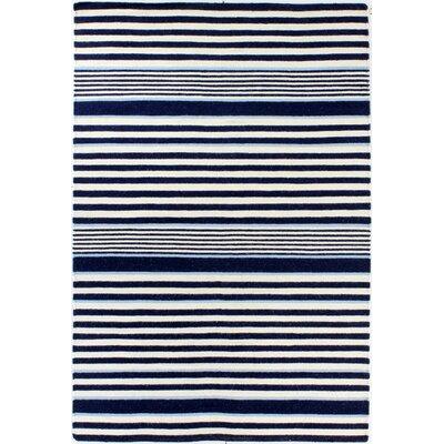 Rockport Ivory & Navy Area Rug Rug Size: 5 x 76