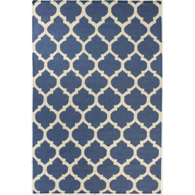 Girardville Hand-Woven Wool Blue Area Rug Rug Size: 7'6