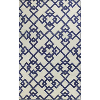Rockport Ivory/Blue Area Rug Rug Size: Rectangle 36 x 56