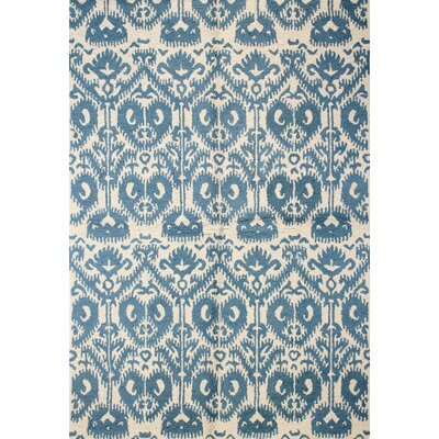 Rajapur Ivory & Blue Area Rug Rug Size: Rectangle 7 x 9
