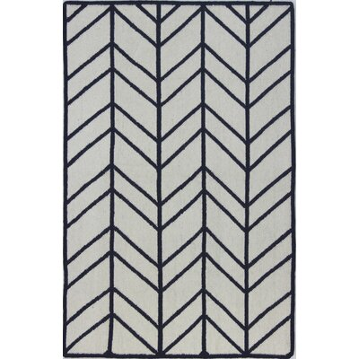 Rockport Hand-Woven Wool Ivory/Navy Area Rug Rug Size: Rectangle 5 x 76