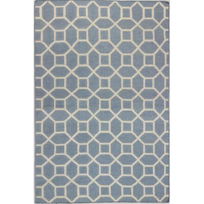 Rockport Hand-Woven Wool Light Blue Area Rug Rug Size: Runner 26 x 8