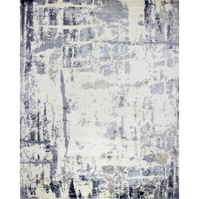 Eisele Hand-Knotted Ivory/Gray Area Rug
