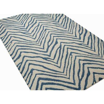 Marasco Hand-Tufted Ivory/Blue Area Rug Rug Size: Rectangle 36 x 56