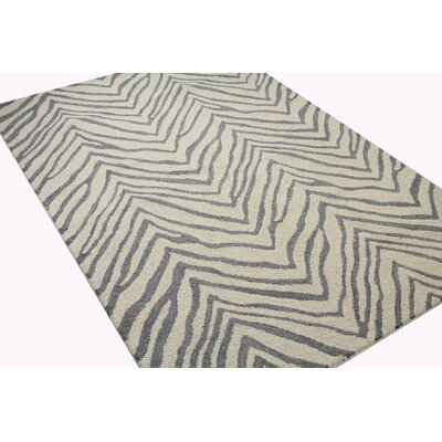 Ludlum Hand-Tufted Ivory/Grey Area Rug Rug Size: Rectangle 5 x 76