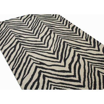 Ludlum Hand-Tufted Ivory/Black Area Rug Rug Size: Rectangle 36 x 56