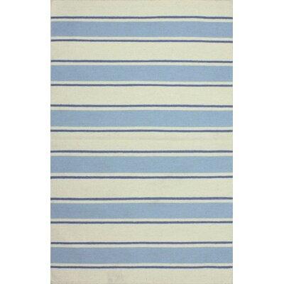 Hampton Hand-Woven Ivory/Blue Area Rug Rug Size: 36 x 56