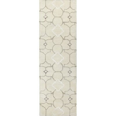 Carolos Hand-Tufted Ivory Area Rug Rug Size: Runner 26 x 8
