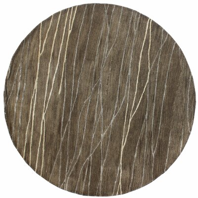 Primavera Hand-Tufted Taupe Area Rug Rug Size: Round 6