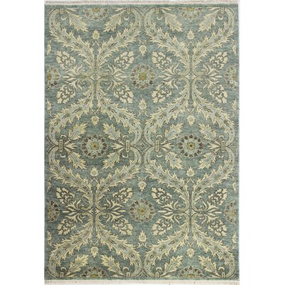 Bartron Hand-Knotted Teal Area Rug Rug Size: 99 x 139