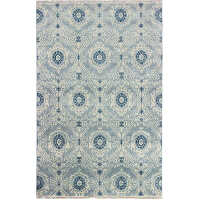 Arsenal Hand-Knotted Light Blue Area Rug Rug Size: 99 x 139