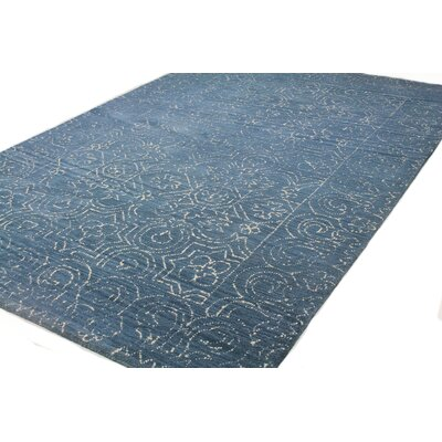 Omar Deep Blue Tufted Wool Area Rug Rug Size: Rectangle 76 x 96