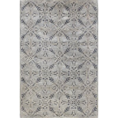 Rajput Hand-Woven Wool Gray Area Rug Rug Size: 86 x 116