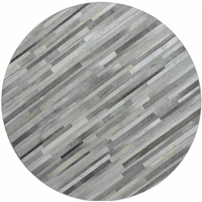 Tuscon Hand-Crafted Grey Area Rug Rug Size: Round 8