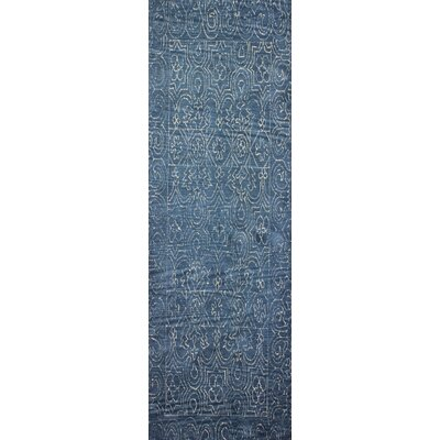 Omar Deep Blue Tufted Wool Area Rug Rug Size: Runner 26 x 8