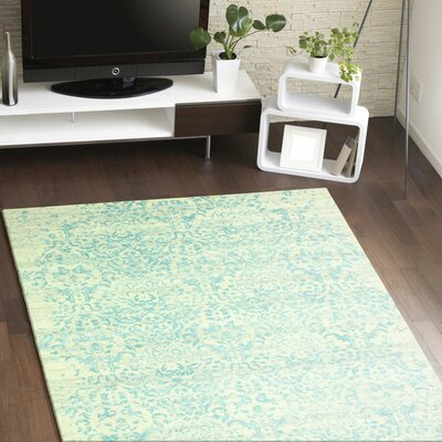 Arlingham Ivory/Aqua Area Rug Rug Size: 36 x 56