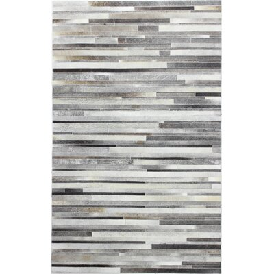 Jaimie Hand Stitched Gray Area Rug Rug Size: 9 x 12