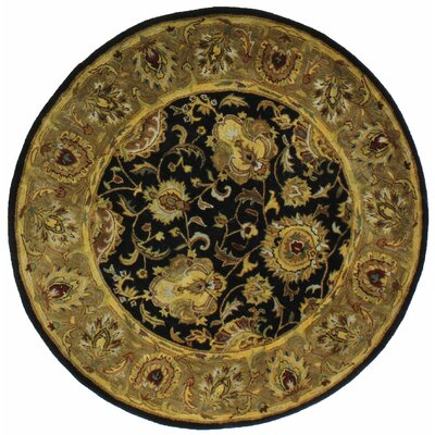 Essex Black Area Rug Rug Size: Round 6