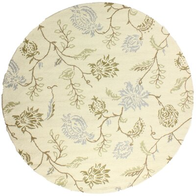 Kirkland Hand-Woven Wool Ivory Area Rug Rug Size: Round 8