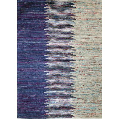 Bohemian Hand Woven Blue/Ivory Area Rug Rug Size: Rectangle 59 x 89