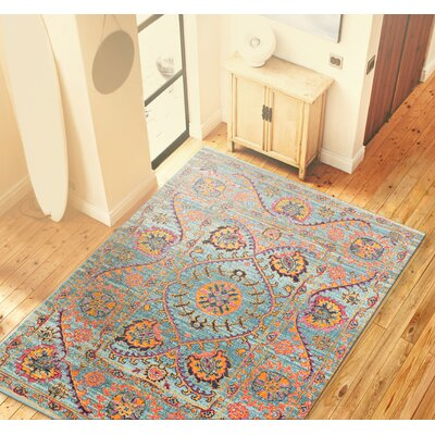 Ashburn Teal/Orange Area Rug Rug Size: 87 x 117