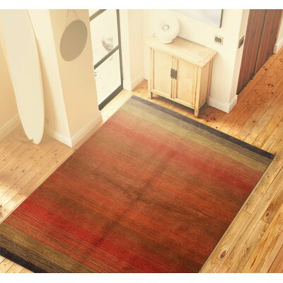 Contempo Hand Woven Wool Red Area Rug Rug Size: 36 x 56