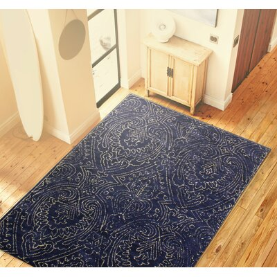 Goodridge Hand-Tufted Navy Area Rug Rug Size: 76 x 96