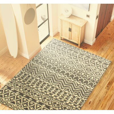 Lewiston Hand-Tufted Gray Area Rug Rug Size: 36 x 56