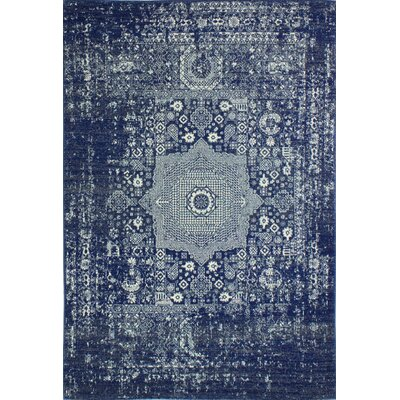 Riggs Distressed Dark Blue Area Rug Rug Size: 5 x 76