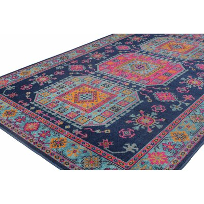 Ashburn Distressed Dark Blue Area Rug Rug Size: 5'3
