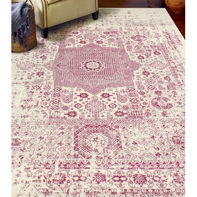 Riggs Ivory/Fuchsia Area Rug Rug Size: 76 x 96