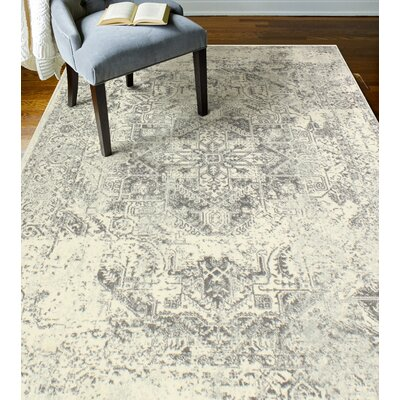 Arlingham Ivory/Gray Area Rug Rug Size: 36 x 56
