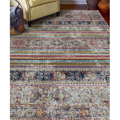 Ashburn Distressed Teal Area Rug Rug Size: 53 x 76