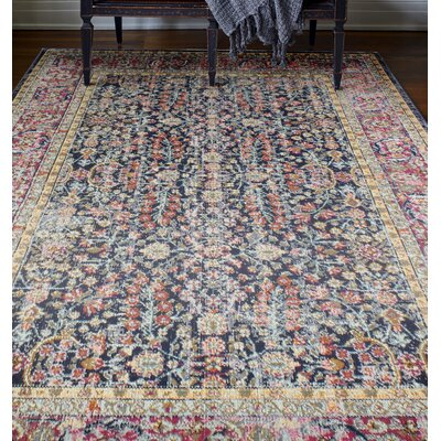 Ashburn Dark Blue Area Rug Rug Size: 3'8