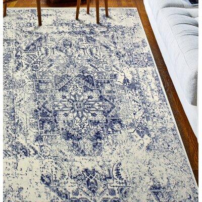 Arlingham Ivory/Blue Area Rug Rug Size: 5 x 76