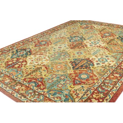 Janelle Red/Orange Area Rug Rug Size: 38 x 56