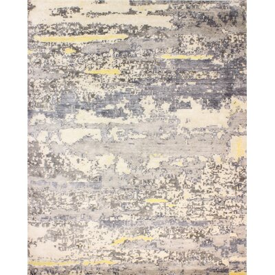Darlene Hand-Knotted Ivory/Gray Area Rug Rug Size: 8 x 10