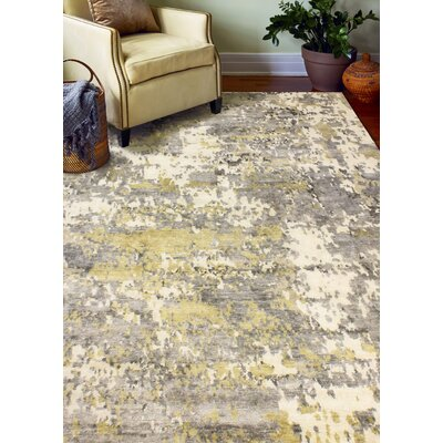 Darlene Hand-Knotted Viscose Ivory/Gray Area Rug Rug Size: 10 x 14
