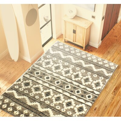 Marisela Hand-Knotted Wool Ivory/Gray Area Rug Rug Size: 36 x 56