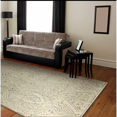 Floretta Hand-Tufted Ivory/Blue Area Rug Rug Size: 76 x 96