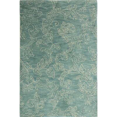 Prescot Hand-Tufted Wool Teal Area Rug Rug Size: 86 x 116