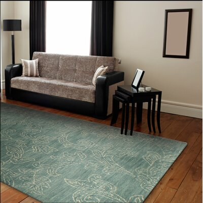 Prescot Hand-Tufted Wool Teal Area Rug Rug Size: 36 x 56